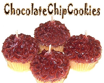 4 Chocolate Chip Cookie Cupcake Candle Minis Bakery Scent Votive