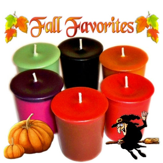 SALE 6 Fall Favorites Votive Candles Assortment Autumn Scents