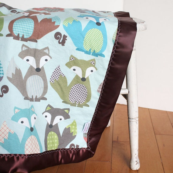 FOX minky blanket by PETUNIAS - minky fabric satin edge newborn gift stroller soft photo prop shower gift modern car seat cover