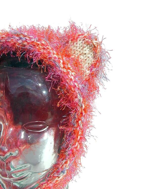 Teddy Bear Ear Hat - Pink Wool and Flashy Acrylic - Bonnet Style