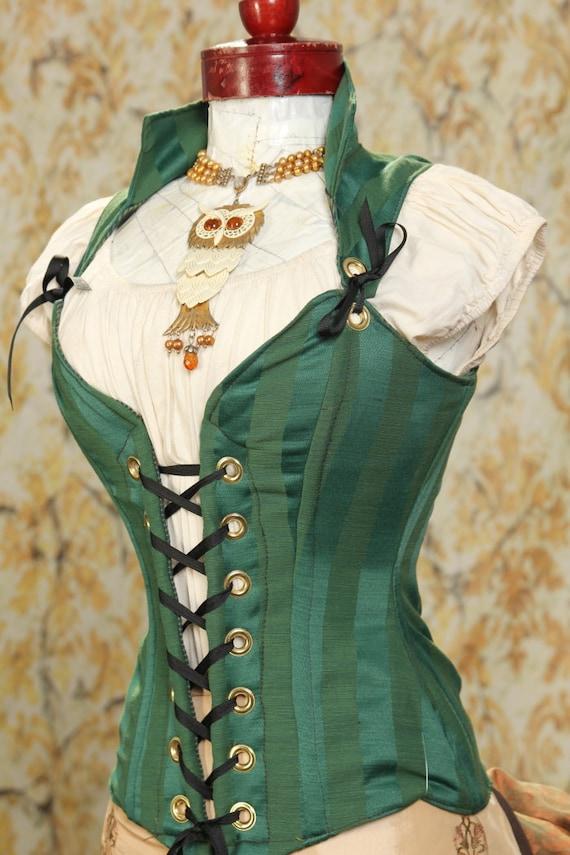 Waist 34 to 36 Emerald Stripe Courtier Corset