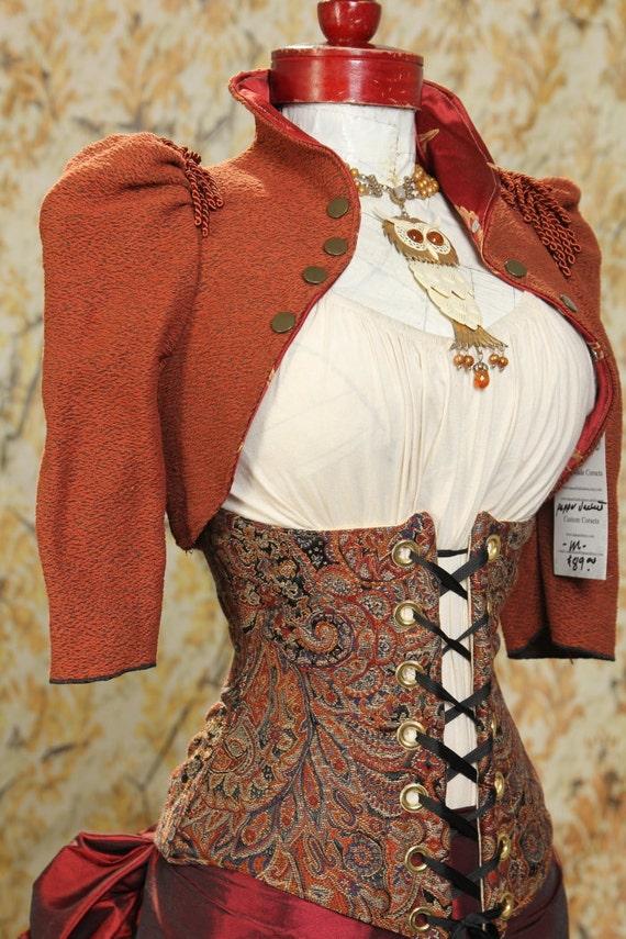 CLEARANCE- WAS 69-Size M/L Warm Brown Cropped Steampunk Jacket