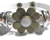 """Leather Bracelet Wrap White Beaded  Unisex  7""""-8"""""""