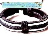 Surfer Bracelet leather and hemp black white adjustable