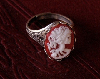 Skeleton Lady Cameo Ring- Red and Silver