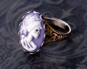 Skeleton Lady Cameo Ring- Purple, White and Silver