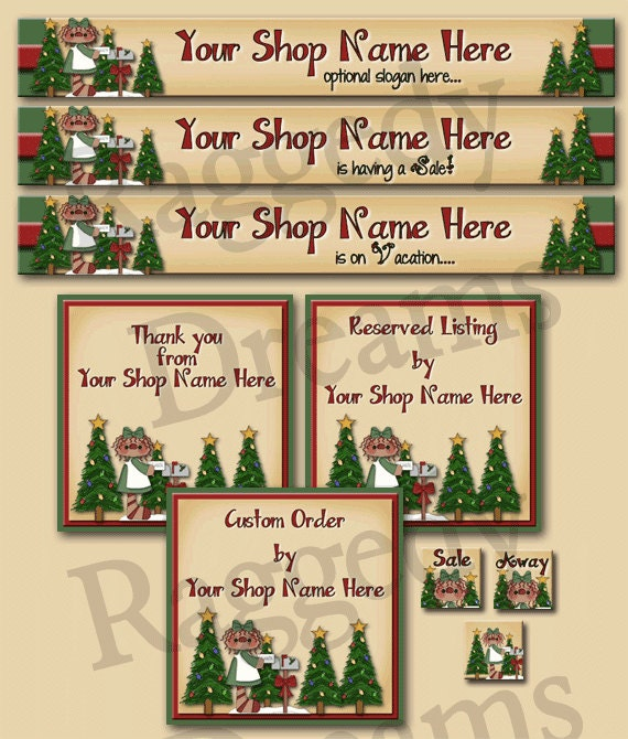 Premade Complete ETSY Shop Set - SHOP ICON - Shop Profile Photo - Etsy Shop Banner Custom Reserved Listing Shweet Annie Santa Letter