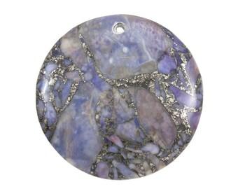 40mm Purple Semi-Precious Stone Pendant - 1 Pendant -0701-05