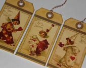Set of 6 Assorted Vintage Nostalgic Valentine Clowns Love February 14  Hang Tags Gift Ties Scrapbooking Ornies