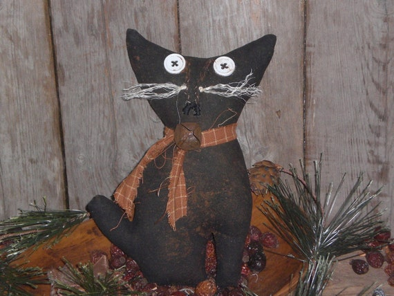 Primitive Grungy Halloween Spooky Black Kitty Cat Bowl Filler Ornie Ornament Shelf Sitter Tuck Doll