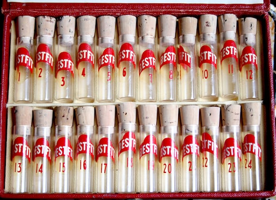 24 Vintage Watch VIALS in CASE Glass Cork Tops JEWELRY Assemblage Altered Art Mixed Media