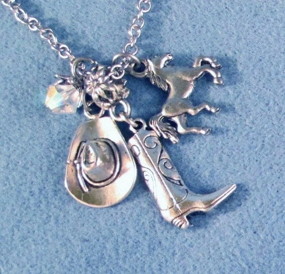 Cowgirl Up Hat, Boot and Horse Western Silver Charms Necklace Choose Horse Alone Jumping Rails Rodeo