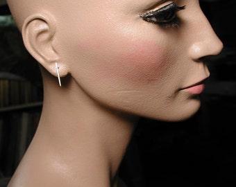 20mm x 1mm Modern Minimalist Silver Earrings Sterling Silver Bar Studs by Susan Sarantos
