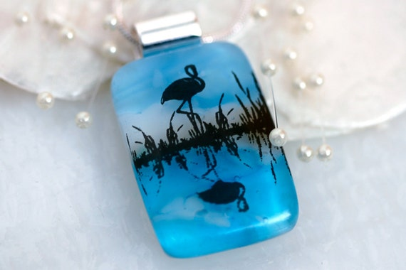 Flamingo Blue Water Dichroic Fused Glass Pendant Jewelry Necklace - 00958