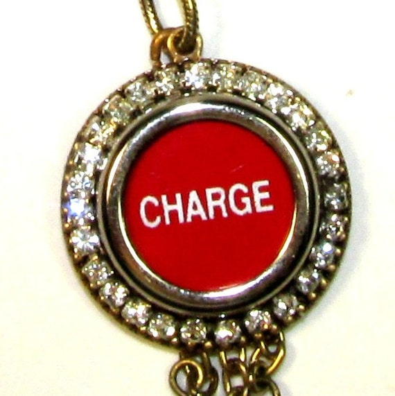 Cash Register Key Necklace Red Charge It