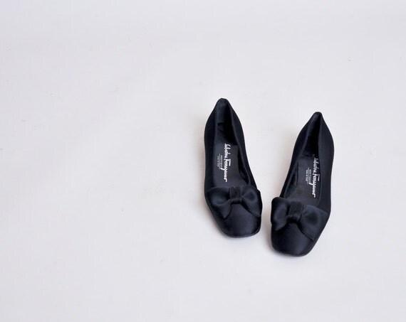 black satin SALVATORE FERRAGAMO bow flats / 5 1/2 B
