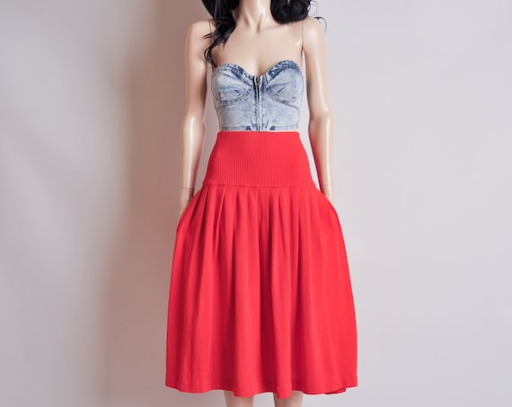 red knit high waist cummerbund skirt / full / s / m / toto skirt