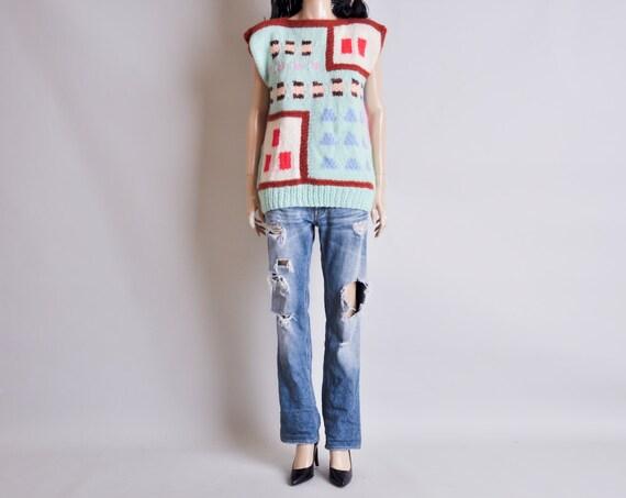 hand knit graphic print sweater / dolman slv / boxy / s / m