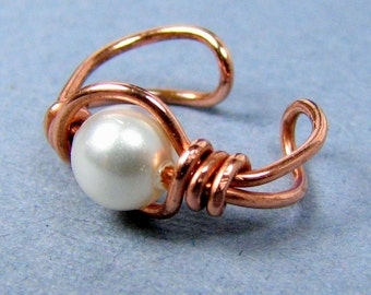 Ear Cuff Copper with Swarovski Pearl or Choice of bead cartilage earring non pierced wrap