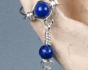 Ear Cuff Sterling Silver Ear Cuff with Dangle Lapis Lazuli or 56 Choices non pierced ear wrap cartilage earring