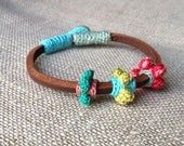 Leather & crochet cotton flowers friendship bracelet