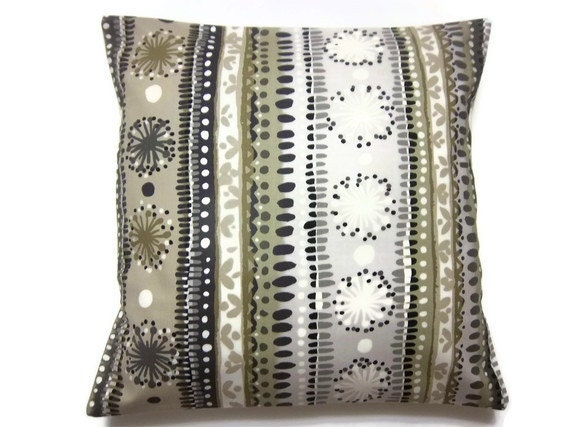 Decorative Pillow Cover Taupe Gray Cream Black Stripe Modern Design Handmade Toss Throw Accent  16 inch