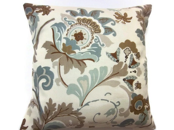 Two Cadet Blue Brown Sienna Taupe Natural Pillow Covers Decorative Modern18 inch Toss Throw Accent Pillow Covers