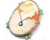 14k Antique Art Deco Diamond Habille Butterfly Enamel Filigree Cameo Brooch Pendant