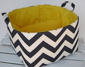 Navy Blue/ White Chevron - Diaper Caddy - Storage Container Organizer Bin Basket - Large Size - 1 Separator - 2 Compartments - Yellow Lining