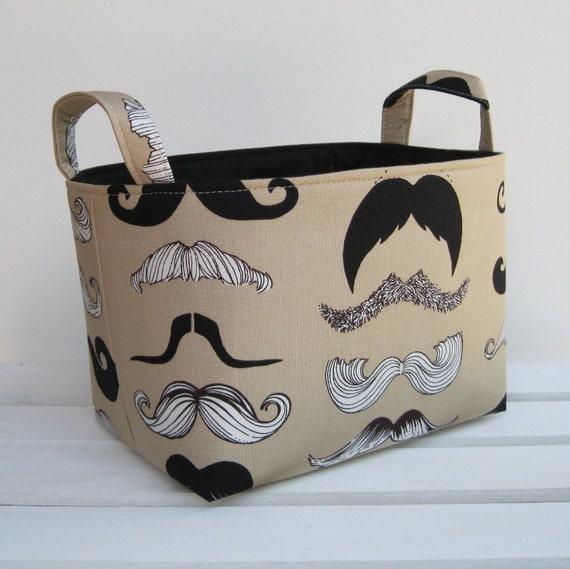 Storage and Organization - Where's my 'stache - Fun Mustaches Fabric Organizer Bin Storage Container Basket