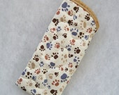 Quilted Eyeglass/sunglass case - Pawprints in tan grey and brown