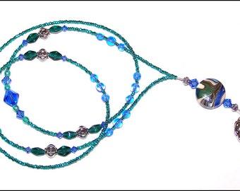 Ocean Waves - beaded badge lanyard -  aqua and teal glass lampwork beaded ID badge lanyard necklace for teacher nurse gift