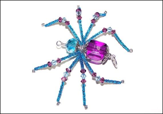 Elizabeth - purple and aqua blue glass beaded spider goth sun catcher - Halloween - Christmas ornament