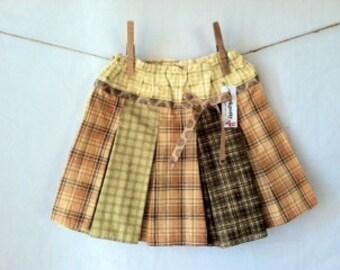 Plaid Pleated Skirt - girls, handmade, brown, green, sale