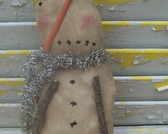 Primitive Christmas Snowman Sad Snow