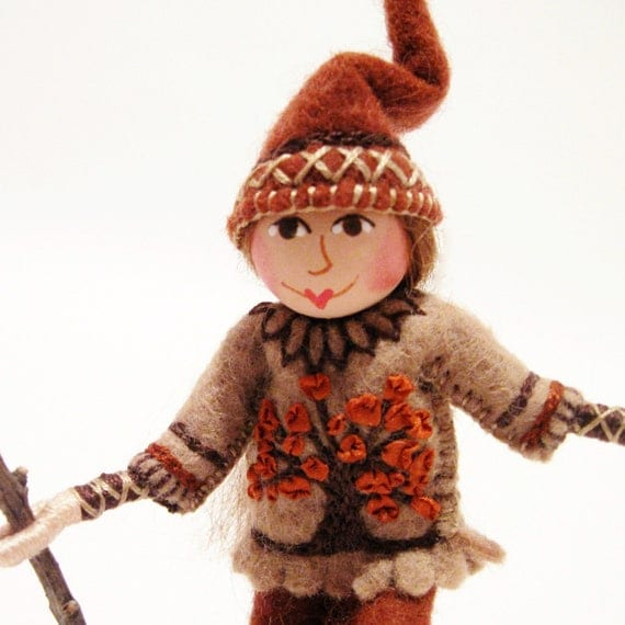 Woodland Gnome Art Doll With Silk Ribbon Embroidery