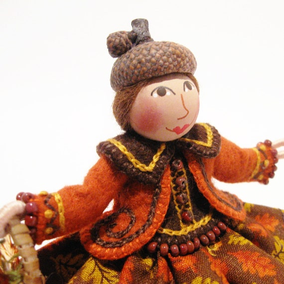 Autumn Art Doll, Hand Embroidered, Holding Basket of Leaves