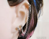 Silver And Black Double Chain Connecting Cartilage Earring Or Ear Cuff Multiple Piercings