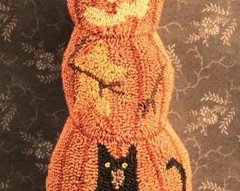 Primitive Needle Punch Pillow PATTERN Pumpkin Black Cat And A Star