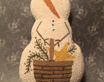 Primitive Needle Punch PATTERN Snowman And Basket Of Greenery And Star