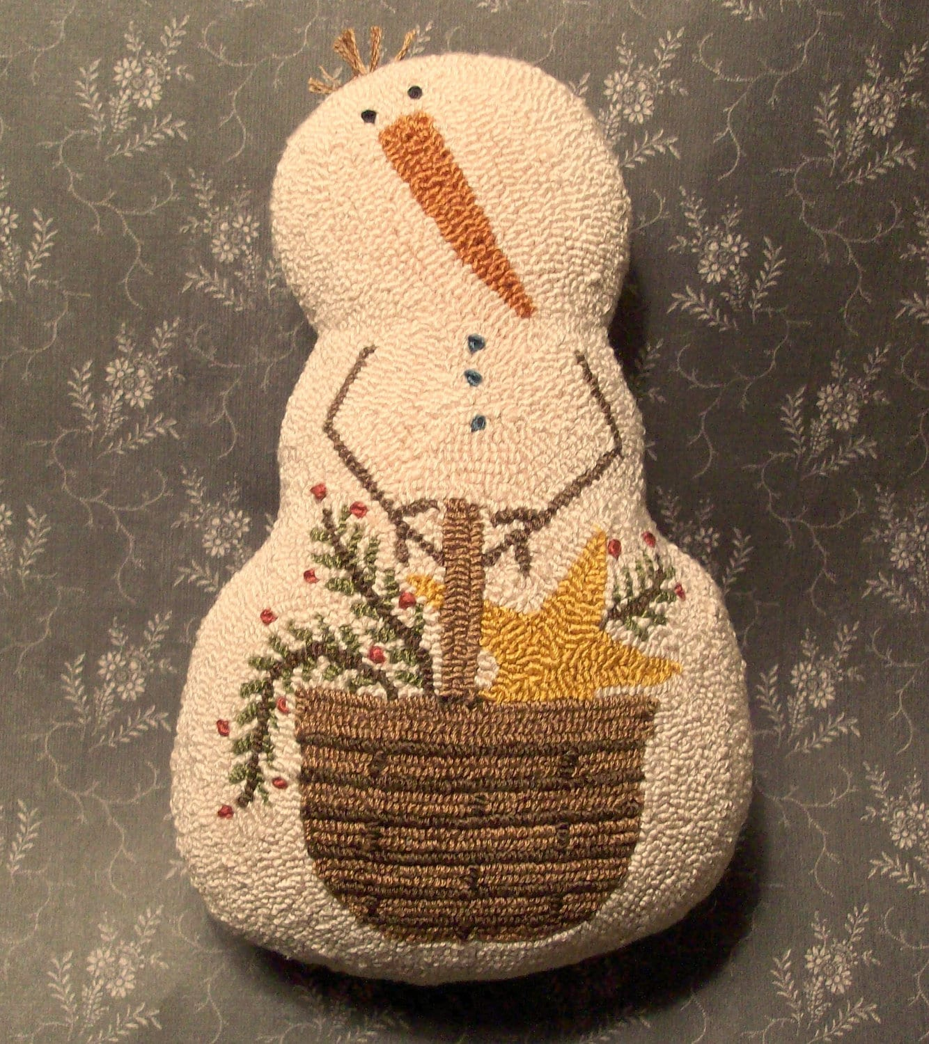 Primitive Needle Punch PATTERN Snowman And Basket Of Greenery