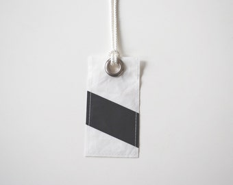 Stocking Stuffer Luggage Tag Handmade from Sail Cloth - Black Stripe