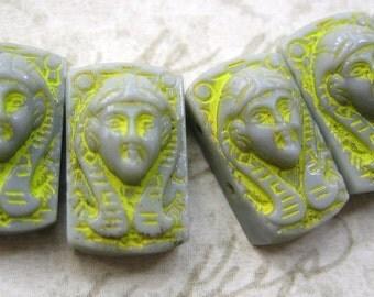 Rare vintage Beads Egyptian Revival grey gray glass 2 hole Pharaoh Cleopatra rectangle (4)