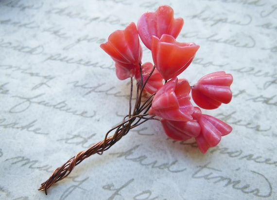 Vintage Venetian Antique Pink rose glass flower bouquet  beads on copper wire stems  (10)