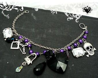 Sale - Skull Rosary Charm Bracelet