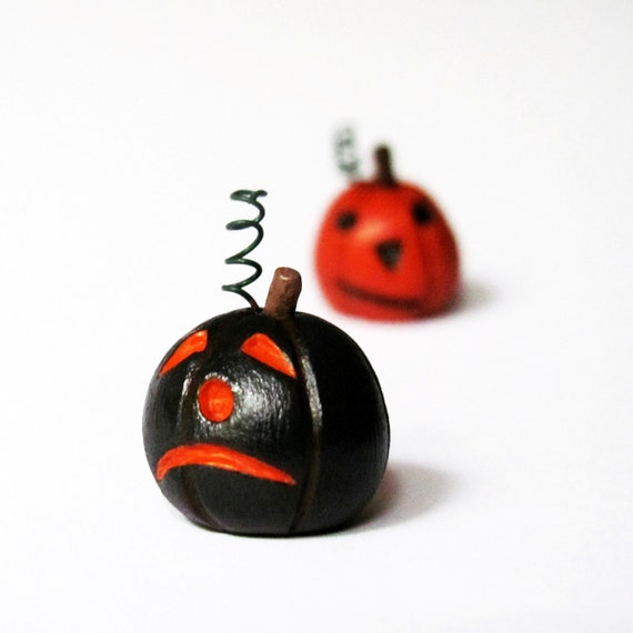 sullen black pumpkin- Halloween jack-o-lantern miniature clay sculpture