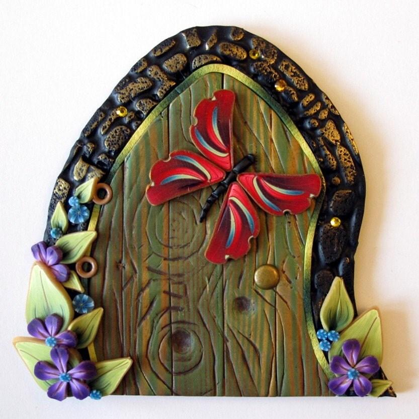 Red butterfly fairy door kids wall art room decor by claybykim for Fairy door wall art