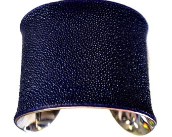 Navy Blue Stingray Silver Lined Cuff Bracelet  - by UNEARTHED