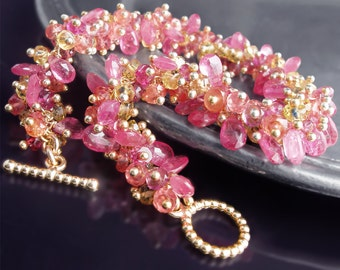 CUSTOM Made to Order - 14k Pink and Yellow Sapphire Bracelet with Hot Pink Tourmaline and Orange Padaparascha Sapphires