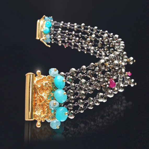 CUSTOM Made to Order - Multi-Strand Bracelet with Peruvian Opal, Pyrite, Pink Sapphire, and Blue Zircon